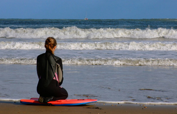 Surfer Girl Waiting For a Wave