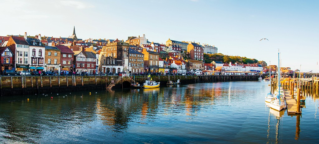 Scenic view of Whitby city in autumn sunny day
